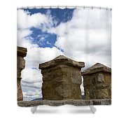 Segovia Wall Against Blue Sky Shower Curtain
