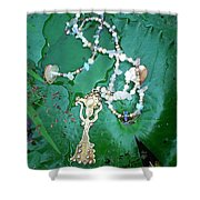 Self-esteem Necklace With Offerings Goddess Pendant Shower Curtain