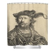 Self Portrait In A Velvet Cap With Plume Shower Curtain by Rembrandt