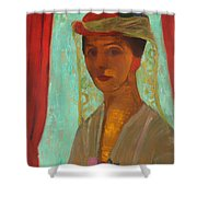 Self Portrait With Hat And Veil Shower Curtain