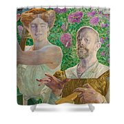 Self-portrait With Muse And Buddleia Shower Curtain