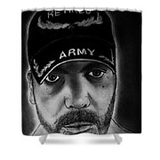 Self Portrait With Us Army Retired Cap Shower Curtain