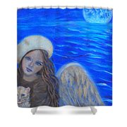 Selina Little Angel Of The Moon Shower Curtain by The Art With A Heart By Charlotte Phillips