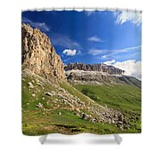 Sella Mountain And Pordoi Pass Shower Curtain