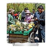 Selling Fresh Pineapple On Street In Lhasa-tibet    Shower Curtain