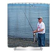Senior Caught A Pollock In Kachemak Bay Off Homer Spit-alaska Shower Curtain