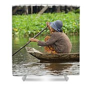 Senior Woman Paddling A Boat Shower Curtain