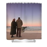 Seniors' Love And Ocean Shower Curtain