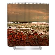 Sennen Storm Shower Curtain by Linsey Williams