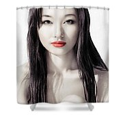 Sensual Artistic Beauty Portrait Of Young Asian Woman Face Shower Curtain