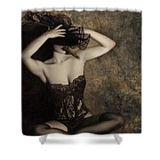Sensuality In Sepia - Self Portrait Shower Curtain by Jaeda DeWalt