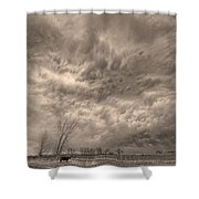Sepia Angry Skies Shower Curtain
