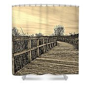 Sepia Boardwalk Shower Curtain