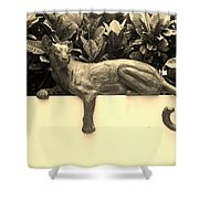 Sepia Cat Shower Curtain by Rob Hans