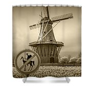 Sepia Colored No Tilting At Windmills Shower Curtain