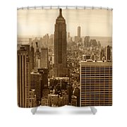 Sepia Empire State Building New York City Shower Curtain