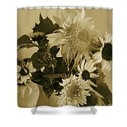 Sepia Garden Sunflower Bouquet Shower Curtain