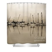 Sepia Harbor Shower Curtain