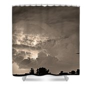 Sepia Light Show Shower Curtain