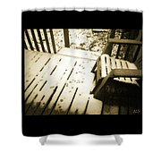 Sepia - Nature Paws In The Snow Shower Curtain