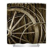Sepia Photo Of Broken Wagon Wheel And Rims Shower Curtain