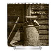 Sepia Photograph Of Vintage Creamery Can By The Old Homestead In 1880 Town Shower Curtain