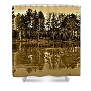 Sepia Reflection Shower Curtain