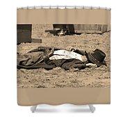 Sepia Rodeo Gunslinger Victim Shower Curtain