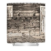 Sepia Rustic Old Colorado Barn Door And Window Shower Curtain by James BO  Insogna