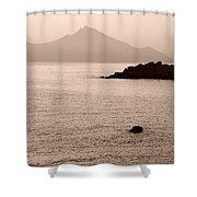 Sepia Seascape Shower Curtain
