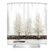 Sepia Square Diptych Tree 12-7693 Set 1 Of 2 Shower Curtain