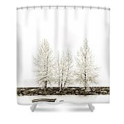 Sepia Square Tree Shower Curtain