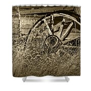 Sepia Toned Photo Of An Old Broken Wheel Of A Farm Wagon Shower Curtain