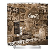 Sepia Toned Signs Of Coca Cola Shower Curtain