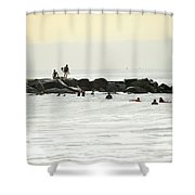 September Swell At Rockaway Draws Crowd Shower Curtain