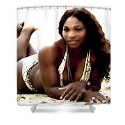 Serena Williams In The Sand Shower Curtain