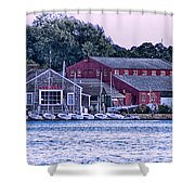Serene Seaport Shower Curtain