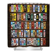 Serenity Prayer Reinhold Niebuhr Recycled Vintage American License Plate Letter Art Shower Curtain
