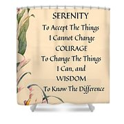 Serenity Prayer Typography On Calla Lilly Watercolor Shower Curtain