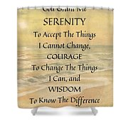 Serenity Prayer Typography On Ocean Sunset Watercolor Shower Curtain