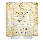 Serenity Prayer With Flowers And Butterflies Shower Curtain