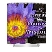 Serenity Prayer With Lotus Flower By Sharon Cummings Shower Curtain