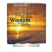 Serenity Prayer With Sunset By Sharon Cummings Shower Curtain