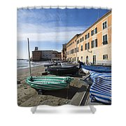 Sestri Levante And Boats Shower Curtain