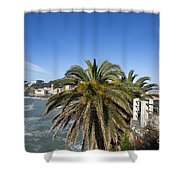 Sestri Levante And Palm Tree Shower Curtain