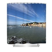 Sestri Levante With Blue Sky And Clouds Shower Curtain
