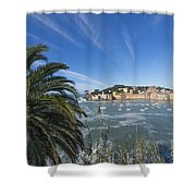 Sestri Levante With Palm Tree Shower Curtain
