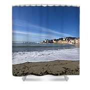 Sestri Levante With Waves Shower Curtain