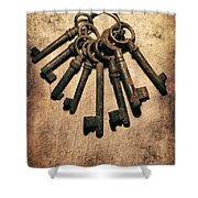Set Of Old Rusty Keys On The Metal Surface Shower Curtain