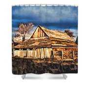 Setting Sun Gathering Storm And Old Homestead Shower Curtain